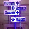 Illuminated French Quarter style lamp post with custom cut vinyl street signs on foam board.